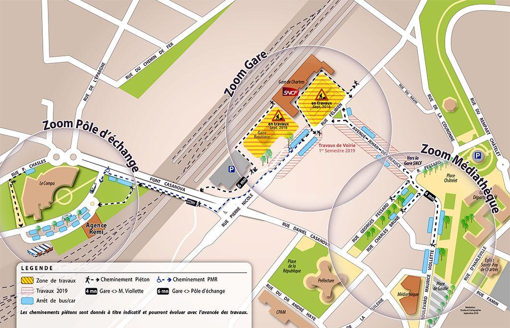 Document PDF interactif à télécharger pour visualiser les différents pôles de la gare de Chartres (PDF - 1 page - 2.8 Mo).