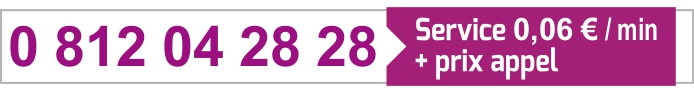 0 812 04 28 28 - Service 0,06 €/min + prix appel